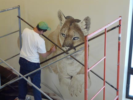 Mountain Lion takes shape in the Nature Nook at Walking Mountains