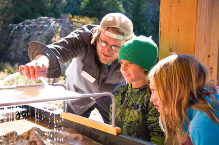 VMS 3rd graders check out the stream table during their Geology field studies program