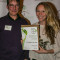 Eye Pieces of Vail employees Scott Poupore (left) & Whitney Harper (right) accept their Actively Green Certified Business certificate at the annual awards party at the Sonnenelp.